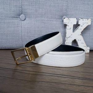 Beautiful YSL White Leather Belt